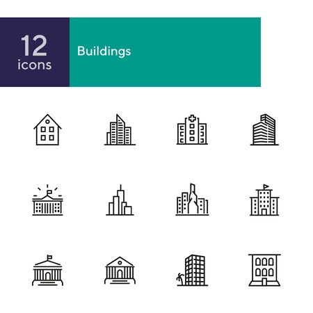 Buildings icons. Set of line icons on white background. Hospital, town house, museum, hotel. City concept. Vector illustration can be used for topics like urban life, architecture, construction Illustration