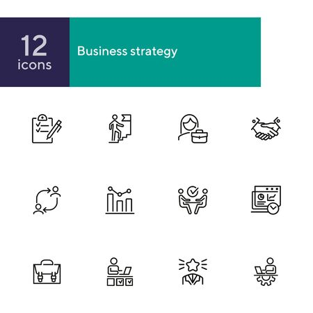 Business success line icon set. Employee, businessman, meeting, handshake. Human resource concept. Can be used for topics like personal efficiency, success, leadership