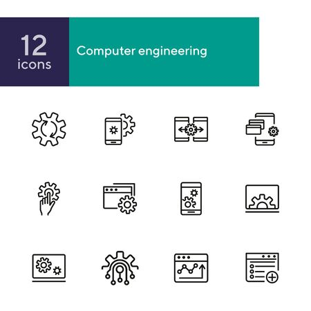 Computer engineering line icon set. Set of line icons on white background. Technology concept. Computer, machine, progress. Vector illustration can be used for topics like technics, programming, computer Standard-Bild - 134484673