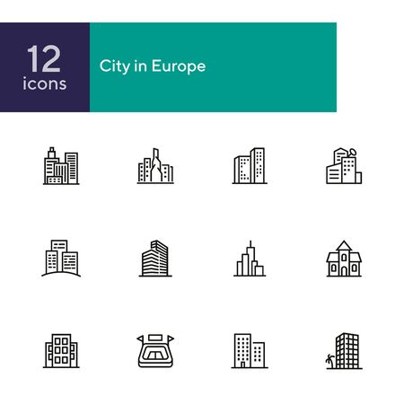 City in Europe line icon set. Building, house, skyscraper. Architectrure concept. Vector illustration can be used for topics like consctruction, design, building