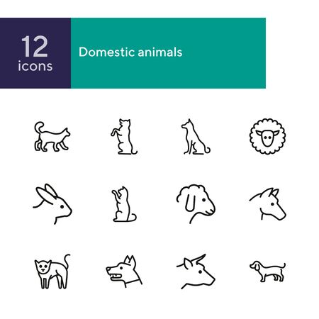 Domestic animals icons. Set of line icons on white background. Dog, sheep, rabbit, cat, cow, horse. Animals concept. Vector illustration can be used for topics like pets, farm, zoology