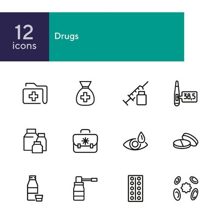 Drug store line icon set. Pills, syringe, eye drops. Medicine concept. Can be used for topics like medication, pharmacy, treatment Zdjęcie Seryjne - 134553692