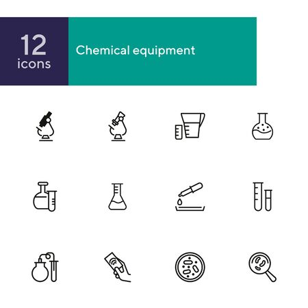 Chemical equipment line icon set. Set of line icons on white background. Molecule, structure, atom, flask. Science concept. Vector illustration can be used for topics like experiment, laboratory