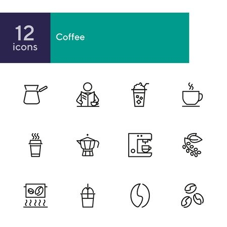 Coffee line icon set. Cappuccino maker machine, takeaway paper cup, bean. Coffee concept. Can be used for topics like coffee shop, break, morning, breakfast