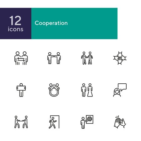 Cooperation line icon set. People, team, partner, family. People connection concept. Can be used for topics like relationship, communication, teamwork Illusztráció