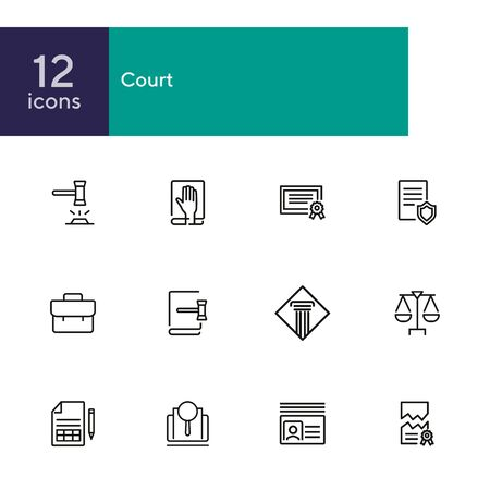 Court line icon set. Gavel, oath, scale. Law concept. Can be used for topics like courthouse, trial, crime