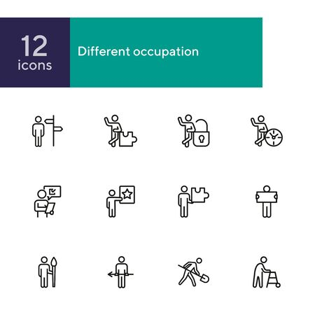 Different occupation line icon set. Direction sign, puzzle, lock, clock. Activity concept. Can be used for topics like management, career, project