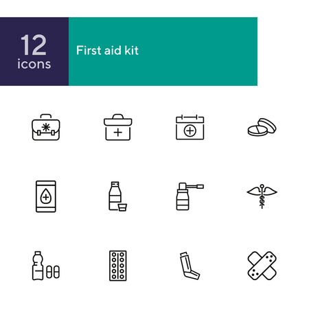 First aid kit line icon set. Suitcase, bag, pill, syrup. Medicine concept. Can be used for topics like therapy, treatment, cure Zdjęcie Seryjne - 134552908