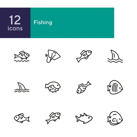 Fish line icon set. Shark, stingray, flounder, puffer fish. Nature concept. Can be used for topics like seafood, fish market, sea, ocean Foto de archivo - 134552909