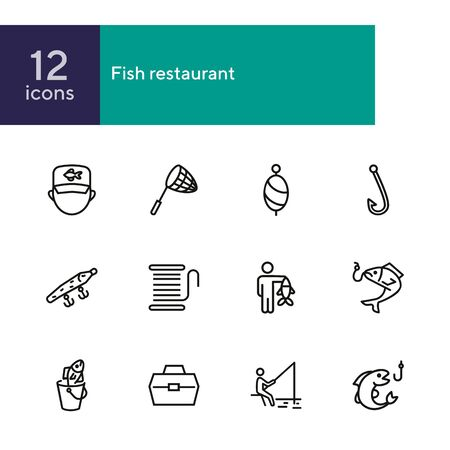 Fishing line icon set. Fisherman, net, hook. Fishery concept. Can be used for topics like catch, hobby, fishing trip Foto de archivo - 134552624