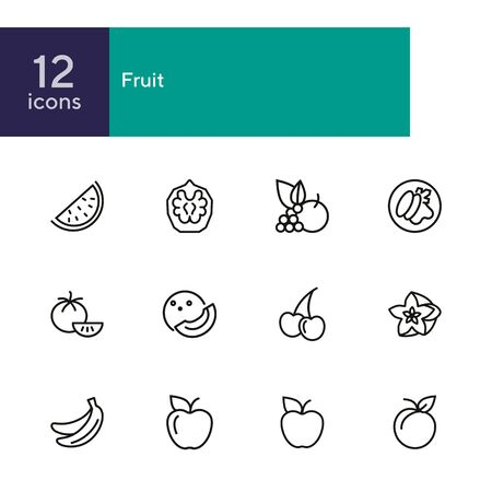 Fruit line icon set. Set of line icons on white background. Food concept. Banana, orange, apple. Vector illustration can be used for topics like fresh market, eco, vegetarian