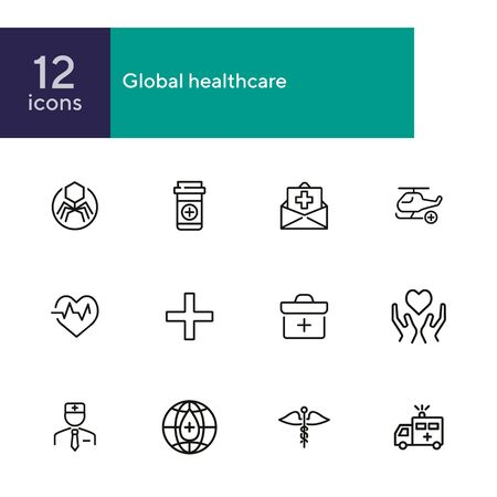 Global healthcare line icon set. Ambulance car, doctor, donation. Medicine concept. Can be used for topics like hospital, clinic, emergency, insurance Zdjęcie Seryjne - 134485640