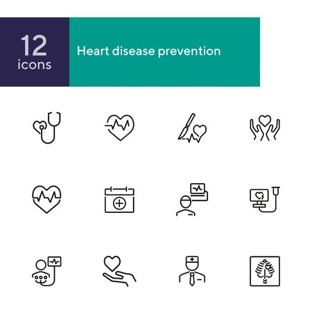 Heart disease prevention line icon set. Stethoscope, surgery, cardiogram, first aid kit. Medicine concept. Can be used for topics like heart attack, medical help, hospital Zdjęcie Seryjne - 134485462