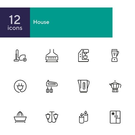 Household technics icons. Set of line icons on white background. Tea pot, mixer, fridge. Home concept. Vector illustration can be used for topics like progress, device, gadget