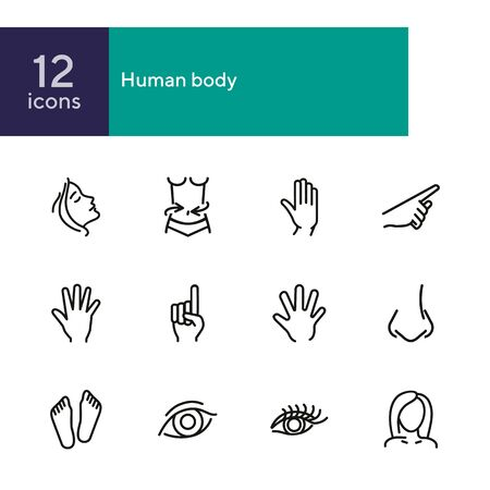 Human body line icon set. Face, hand, eye. Health concept. Can be used for topics like healthcare, weight, gesturing Ilustração