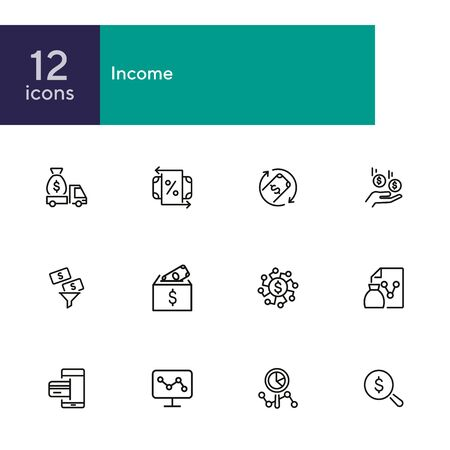 Income line icon set. Truck with money, percentage, cash. Business concept. Can be used for topics like finance, investment, commerce, deposit