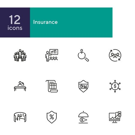 Insurance line icon set. Leadership, presentation, shield. Business concept. Can be used for topics like finance management, consulting, expertise