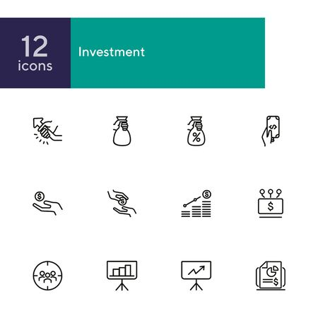 Investment line icon set. Cash, interest rate, loan, graph. Business concept. Can be used for topics like finance, startup, banking, reports