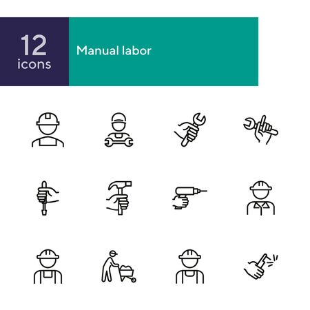 Manual labor line icon set. Hammer, wrench, constructor. Blue collar concept. Can be used for topics like job, occupation, engineering