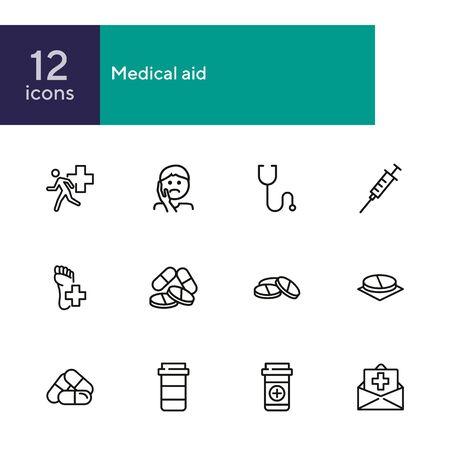 Medical aid line icon set. Stethoscope, syringe, pills. Medicine concept. Can be used for topics like medication, treatment, emergency Illusztráció