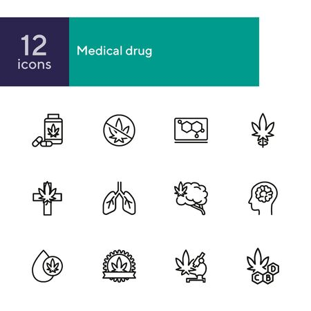 Medical drug line icon set. Cannabis, pills, organ, leaf. Cannabidiol concept. Can be used for topics like healthcare, pharmacy, medicine