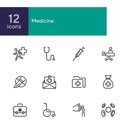 Medicine line icons. Set of line icons on white background. Healthcare concept. Ambulance, syringe, danger. Can be used for topics like pharmacy, medicine, hospital Zdjęcie Seryjne - 134484543