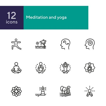 Meditation and yoga line icon set. Health, wellness, leisure. Buddhism concept. Can be used for topics like spirituality, peace, relaxation 矢量图像