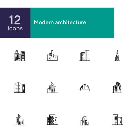 Modern architecture line icon set. Apartment house, skyscraper, office, arc bridge. Urban life concept. Can be used for topics like big city, downtown, business center  イラスト・ベクター素材