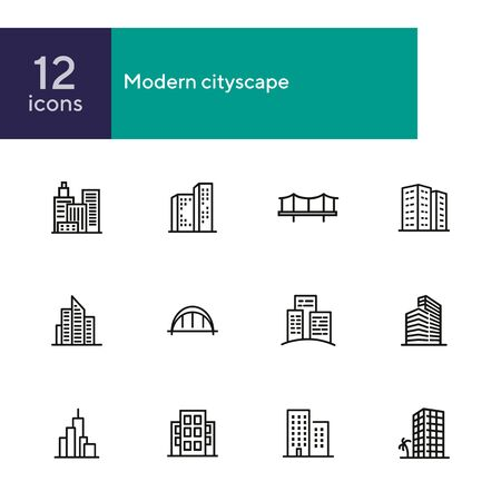 Modern cityscape line icon set. Building, house, skyscraper. Architectrure concept. Vector illustration can be used for topics like consctruction, design, building Illustration
