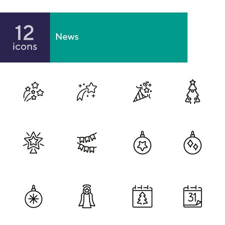 New Year celebrations line icon set. Set of line icons on white background. Calendar date, ball, star. Festival concept. Vector illustration can be used for topics like greeting, celebration