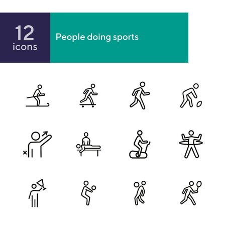 People doing sports line icon set. Set of line icons on white background. Baseball, boxing, golfer. Sports type concept. Vector illustration can be used for topics like activity, lifestyle, fitness Ilustração