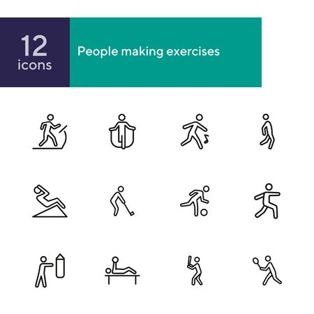 People making exercises line icon set. Set of line icons on white background. Abs, jogging, treadmill. Fitness concept. Vector illustration can be used for topics like activity, lifestyle, fitness Standard-Bild - 134483879