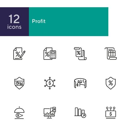 Profit line icon set. Percentage, interest, calculator. Business concept. Can be used for topics like finance, investment, accounting, startup Illusztráció