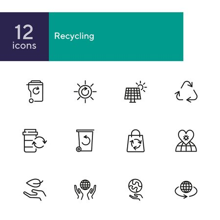 Recycling line icon set. Beer, opener, barrel. Ecology concept. Can be used for topics like environment protection, sustainable policy, zero waste  イラスト・ベクター素材