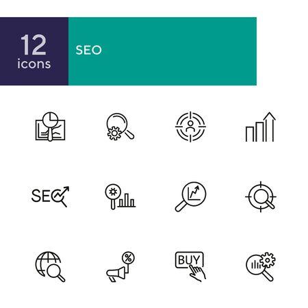 Set di icone della linea SEO. Pulsante Acquista, annuncio di sconto, ma pulsante. Concetto di affari. Può essere utilizzato per argomenti come ottimizzazione, marketing, e-commerce Vettoriali