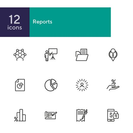 Reports line icon set. Presentation, diagram, bar chart. Analysis concept. Can be used for topics like analytics, marketing, business Illusztráció