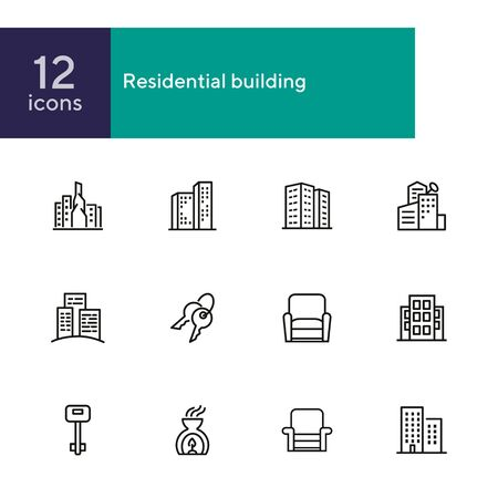Residential building icons. Set of line icons. Key, residential district, cityscape. Housing development. Vector illustration can be used for topics like mortgage, rent, construction Illustration