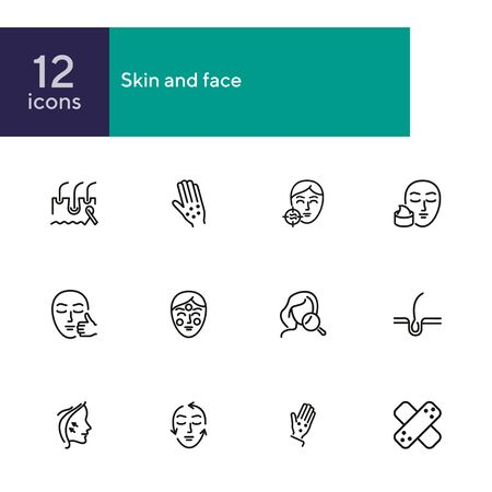 Skin and face line icon set. Allergic rash, face lifting, cream. Skin care concept. Can be used for topics like cosmetology, beauty salon, clinic Illustration