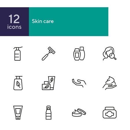 Skin care products line icon set. Cream, shaving stick, face and magnifier glass. Beauty concept. Can be used for topics like beautician, cosmetics, natural ingredients 일러스트