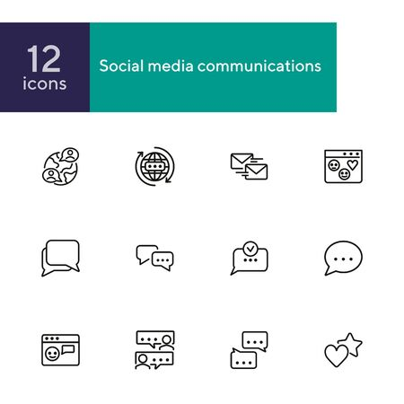 Social media communications line icon set. Set of line icons on white background. Chatting, message, typing. Internet concept. Vector illustration can be used for topics like web, communication Ilustrace