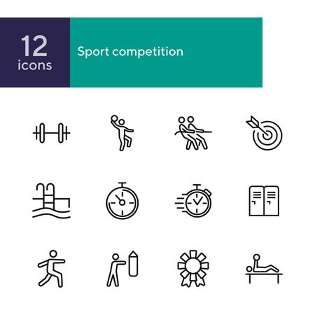 Sport competition icons. Set of line icons. Gym lockers, barbell, swimming pool. Sports activity concept. Vector illustration can be used for topic like professional sport, physical activity, training Illustration