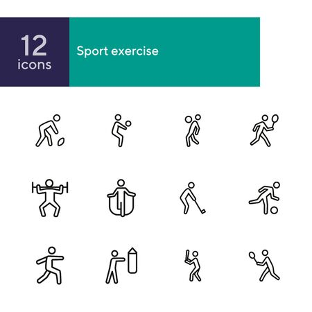 Sport exercise line icon set. Set of line icons on white background. Fitness concept. Baseball, tennis, rugby. Vector illustration can be used for topics like bodybuilding, sport, activity Archivio Fotografico - 134747759