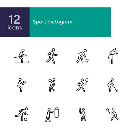 Sport pictogram icon. Set of line icons on white background. Ball games, skiing, boxing. Activity concept. Vector illustration can be used for topics like hobby, leisure, sport training