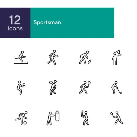 Sportsman line icon set. Football player, fighter, skier. Sport concept. Can be used for topics like activity, healthy lifestyle, competition Banque d'images - 134747766