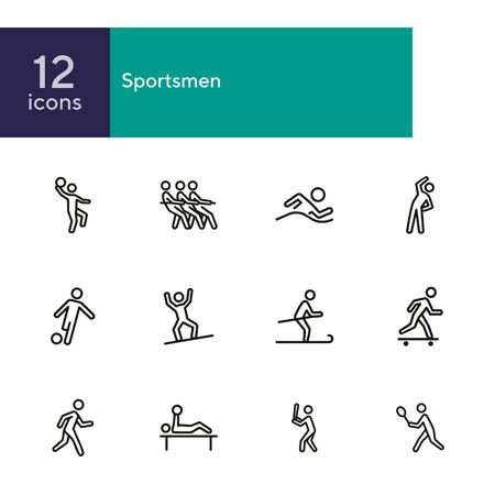 Sportsmen line icon set. Athlete, game, competition. Sport concept. Can be used for topics like fitness, active lifestyle, activities Ilustração