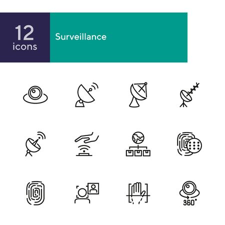 Surveillance line icon set. Camera, satellite dish, fingerprint. Security concept. Can be used for topics like modern technology, protection, access