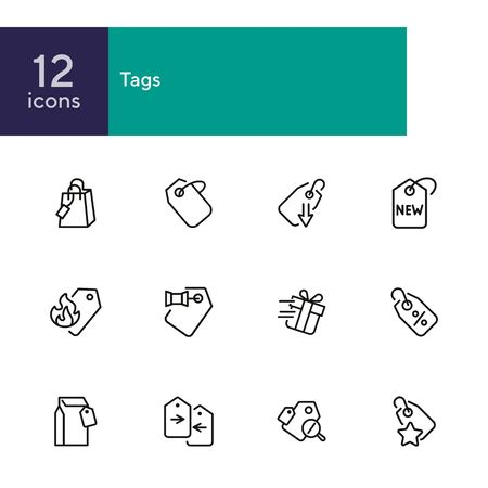 Tags line icon set. Label, new arrival, sale. Promotion concept. Can be used for topics like retail, price, shopping, discount