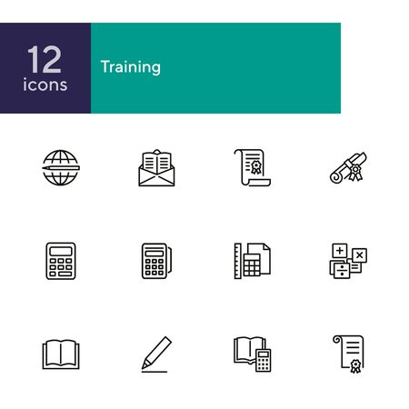 Training line icon set. Calculator, tutorial, diploma, certificate. Education concept. Can be used for topics like studying, college, university