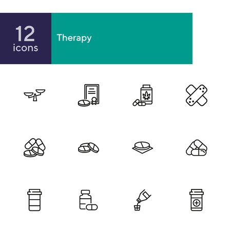 Therapy line icon set. Prescription, medical bottle, pills, syrup. Health care concept. Can be used for topics like cure, illness, treatment Illustration