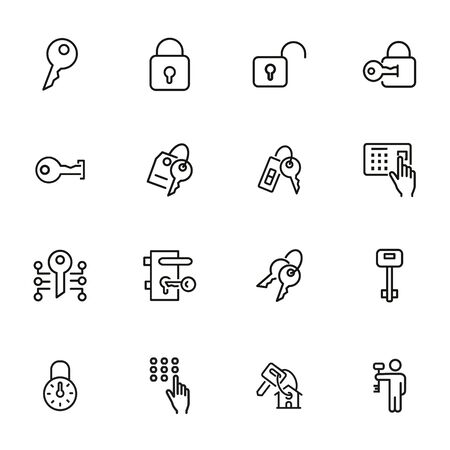 Key line icons. Set of line icons on white background. Safety concept, Key, locker, entry phone. Vector illustration can be used for house, house security, computer programs Illustration